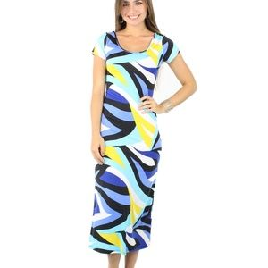 Summer Short Sleeve Geometric Print Maxi Dress
